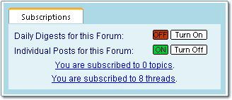 Screen Snapshop: Discussion Board Subscriptions